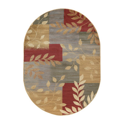 Tayse Ditton Transitional Abstract Oval Area Rug