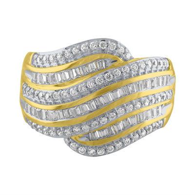 Womens 3/4 CT. T.W. White Diamond 10K Gold Cocktail Ring