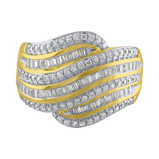 Womens 3 4 Ct Tw Genuine White Diamond 10k Gold Cocktail Ring