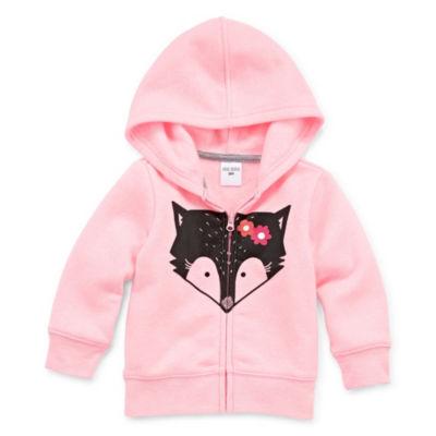 Okie Dokie Fox Zip Up Fleece Hoodie - Baby Girl NB-24M