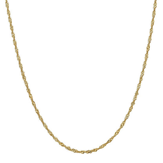 14K Gold 16 Inch Solid Singapore Chain Necklace