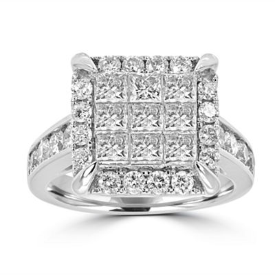 Womens 2 1/2 CT. T.W. White Diamond 14K White Gold Engagement Ring