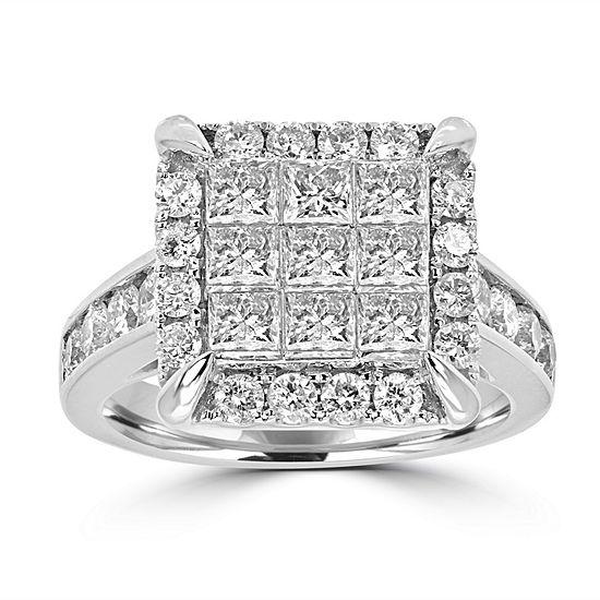 Womens 2 1/2 CT. T.W. Genuine White Diamond 14K White Gold Engagement Ring