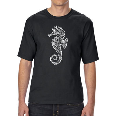 Los Angeles Pop Art Men's Tall and Long Word Art T-shirt - Types of Seahorse