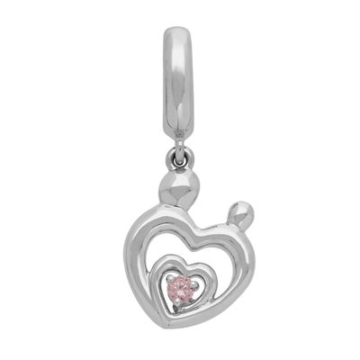 Ps Personal Style Pink Cubic Zirconia 14K Sterling Silver Gold Over Silver Heart Charm