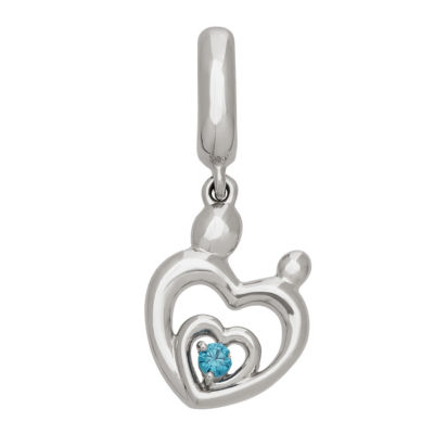 Ps Personal Style Blue Cubic Zirconia Sterling Silver Heart Charm