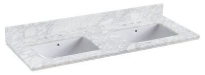 47.5-in. W 18.25-in. D Quartz Top With BacksplashIn Bianca Carara Color For 3H4-in. Faucet - WhiteUM Sink