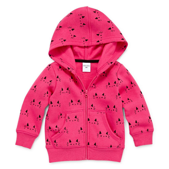 Okie Dokie Cat Print Zip Up Fleece Hoodie - Baby Girl NB-24M