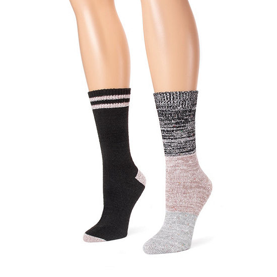 Muk Luks 2 Pair Crew Socks - Womens