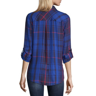a.n.a Womens Long Sleeve Modern Fit Button-Front Shirt