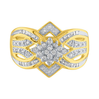 Womens 1/2 CT. T.W. White Diamond 10K Gold Cocktail Ring