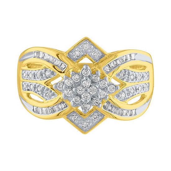 Womens 1 2 Ct Tw Genuine White Diamond 10k Gold Cocktail Ring