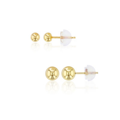 2 Pair 14K Gold Earring Set