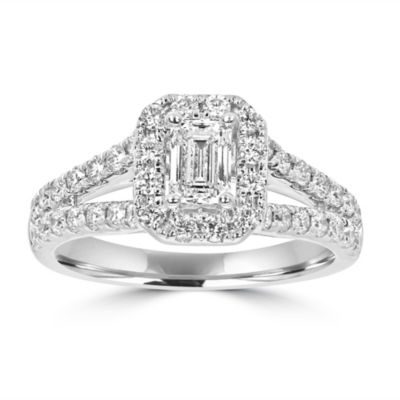 Womens 1 1/5 CT. T.W. White Diamond 14K White Gold Engagement Ring
