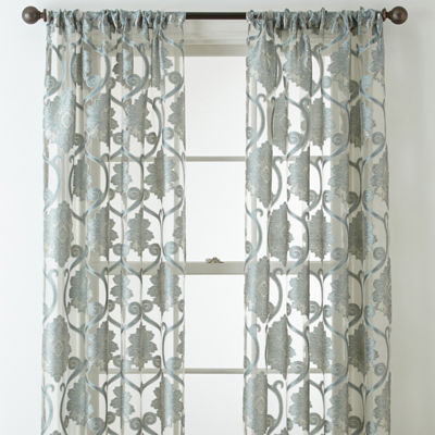 JCPenney Home Belgravia Rod-Pocket Sheer Curtain Panel