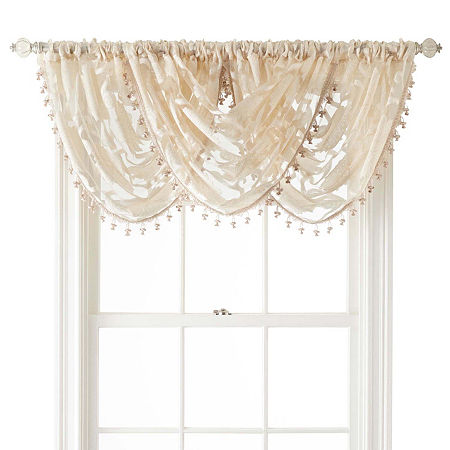 JCPenney Home Belgravia Rod-Pocket Waterfall Valance, One Size , Beige