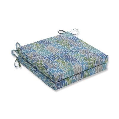 Pillow Perfect Set of 2 Make It Rain Cerulean Oversized Squared Corners Patio Seat Cushion