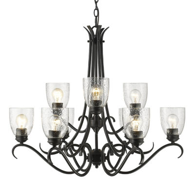 Parrish 9-Light Chandelier in Black with Seeded Glass