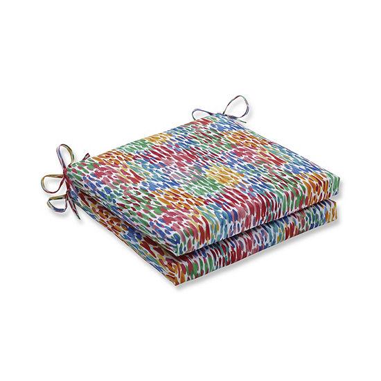 Pillow Perfect Set Of 2 Make It Rain Zinnia Oversized Squared Corners Patio Seat Cushion