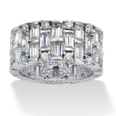 Diamonart Womens 11M 5 CT. T.W. White Cubic Zirconia Platinum Over Silver Round Band