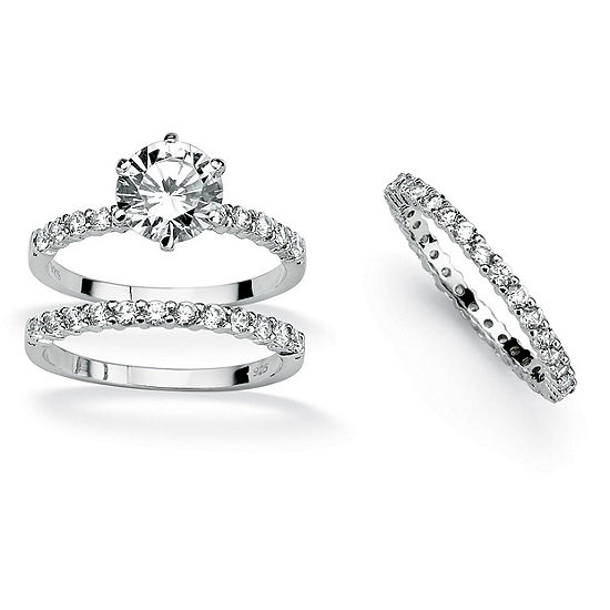 Diamonart Womens 3 3/4 CT. T.W. White Cubic Zirconia Platinum Over Silver Round Bridal Set