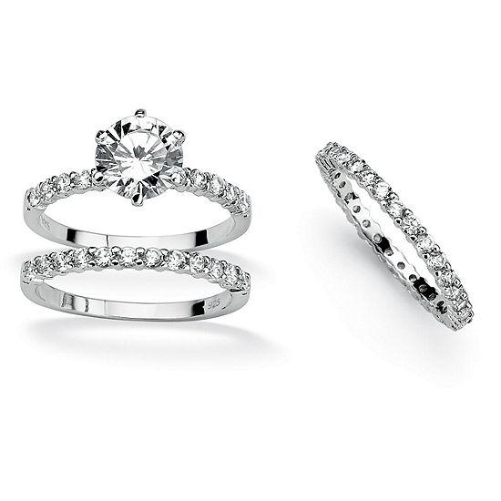 DiamonArt® Womens 3 3/4 CT. T.W. White Cubic Zirconia Platinum Over Silver Round Bridal Set