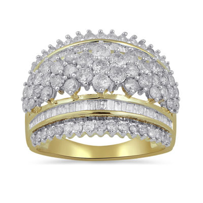Diamond Blossom Womens 2 CT. T.W. Genuine White Diamond 10K Gold Cocktail Ring
