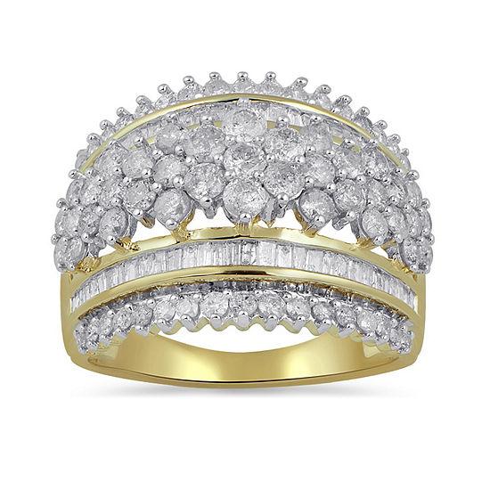 Diamond Blossom Womens 2 CT. T.W. Genuine White Diamond 10K Gold Cocktail Ring