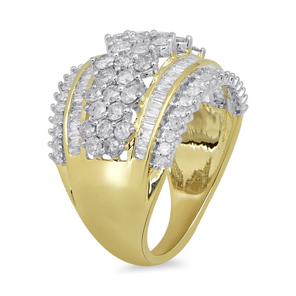 Diamond Blossom Womens 2 CT. T.W. White Diamond 10K Gold Cocktail Ring