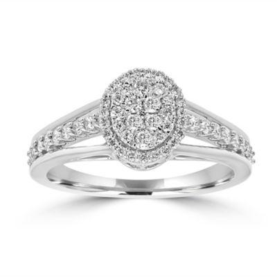 Womens 1/2 CT. T.W. White Diamond 14K White Gold Engagement Ring