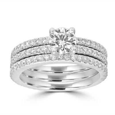 Womens 2 CT. T.W. White Diamond 14K White Gold Bridal Set