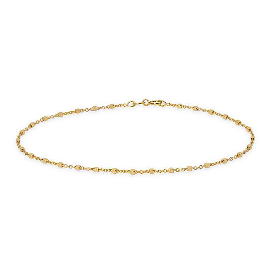 Made in Italy 24K Gold Over Silver Sterling Silver 9 Inch Solid Rope Ankle Bracelet