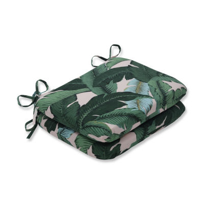 Pillow Perfect Set of 2 Swaying Palms Capri Rounded Corners Patio Seat Cushion