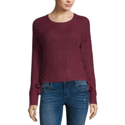 Eyeshadow Long Sleeve Scoop Neck Pullover Sweater-Juniors