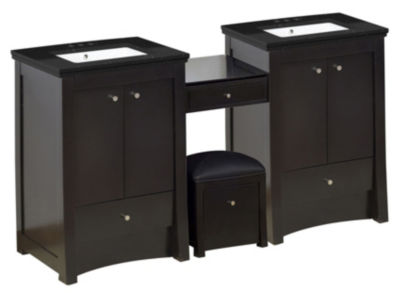 68.75-in. W Floor Mount Distressed Antique WalnutVanity Set For 3H4-in. Drilling Black Galaxy Top White UM Sink
