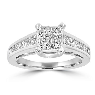 Womens 1 1/2 CT. T.W. White Diamond 14K White Gold Engagement Ring