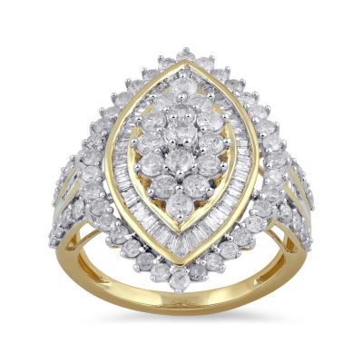 Womens 2 CT. T.W. Genuines White Diamond 10K Gold Cocktail Ring