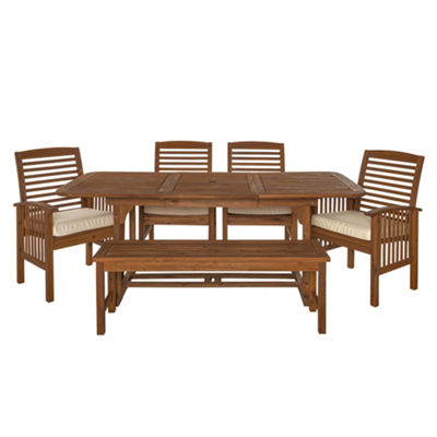 Acacia Wood 6-pc. Patio Dining Set with Cushions
