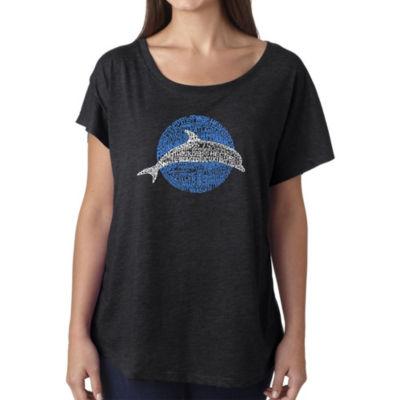 Los Angeles Pop Art Women's Loose Fit Dolman Cut Word Art Shirt - Species of Dolphin