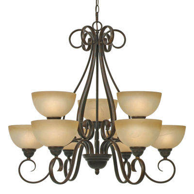 Riverton 2-Tier 9-Light Chandelier in Peppercorn with Linen Swirl Glass