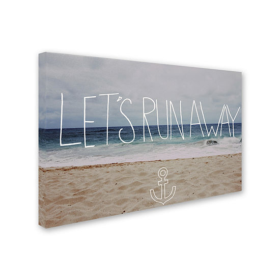 Trademark Fine Art Leah Flores Let's Run Away To the Sea Giclee Canvas Art