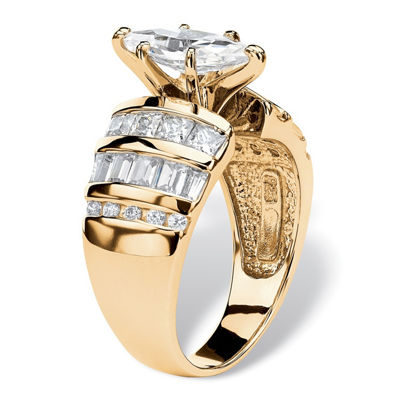 Diamonart Womens 3 3/4 CT. T.W. White Cubic Zirconia 14K Gold Over Silver Diamond Engagement Ring