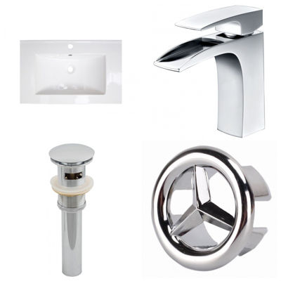 23.75-in. W 1 Hole Ceramic Top Set In White Color- CUPC Faucet Incl.  - Overflow Drain Incl.