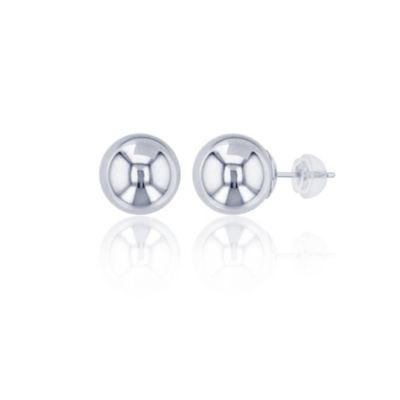 14K White Gold 9mm Stud Earrings