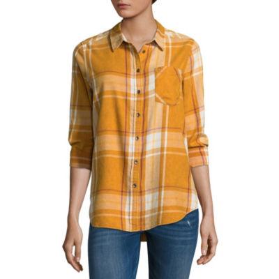 Vanilla Star Long Sleeve Collar Neck Flannel Shirt-Juniors