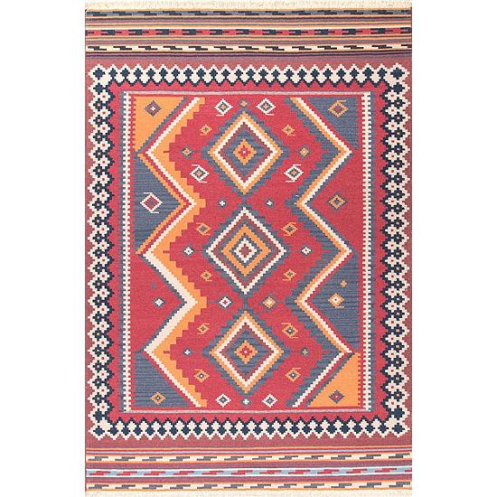 Nuloom Audra Tribal Diamonds Fringe Wool Flatweave Area Rug