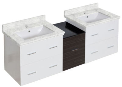 61.5-in. W Wall Mount White-Dawn Grey Vanity Set For 1 Hole Drilling Bianca Carara Top White UM Sink