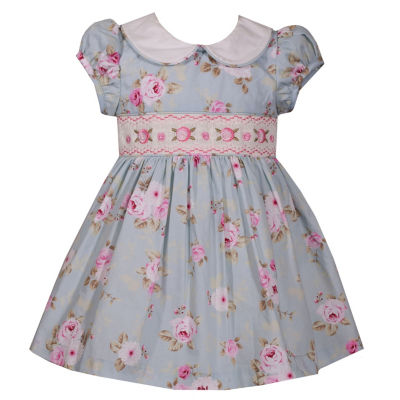 Bonnie Jean Short Sleeve Rose Smocked Dress - Baby Girls