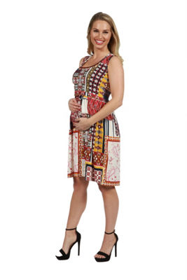 24Seven Comfort Apparel Tara Patchwork Plus Size Dress - Plus