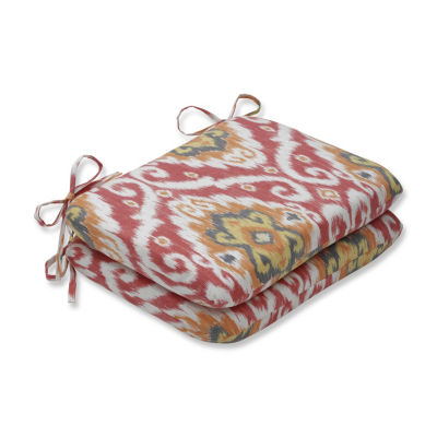 Pillow Perfect Set of 2 Ubud Coral Rounded Corners Patio Seat Cushion